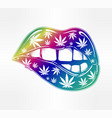 sexy fatal biting lips with weed pattern vector image