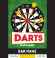 cartoon darts tournament poster for bar vector image