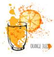 orange juice splash hand draw watercolor vector image