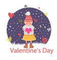 valentines day girl with heart vector image