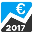 2017 Euro Chart Flat Icon vector image