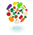 plate with fresh vegetables and fruits vector image