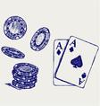 Gambling sketch vector image