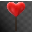 Red heart shaped candy lollipop EPS 10 vector image vector image