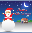 merry christmas - santa claus sitting on snow ball vector image