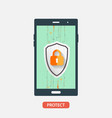 mobile security protection vector image