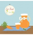 Pitcher with Carrot Juice Eat Fresh Healthy vector image