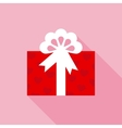 Red Valentine Box with Gift in Flat Style vector image