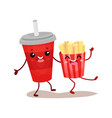 soda drink and french potato characters are best vector image