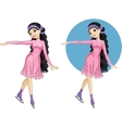 Cute young Asian woman figure skater vector image vector image