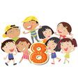 Eight playful kids vector image