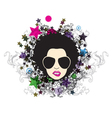 funky face with floral vector image