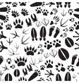 animal footprints black and white seamless pattern vector image