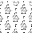 black and white crystals minerals rocks hand vector image