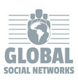 global social networks logo simple gray style vector image