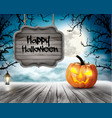 scary halloween background with pumpkins and vector image