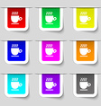 Coffee cup sign Set of multicolored modern labels vector image