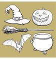witch halloween accessories - hat caldron jack vector image