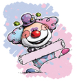 Clown Holding a Label Baby Colors vector image