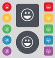 funny Face icon sign A set of 12 colored buttons vector image