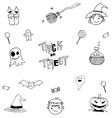 Halloween black white in doodle vector image