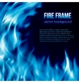 banner with blue color burning fire frame vector image