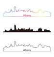 Albany skyline linear style with rainbow vector image