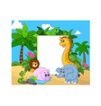 Cartoon collection animal with blank sign vector image