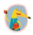 fox with apples portrait vector image