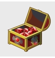 Golden Royal treasure chest full of rubies vector image