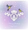 Two tits on Christmas background vector image