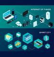 smart city isometric banners set vector image