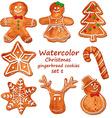 Watercolor Christmas gingerbread cookies vector image