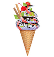 Ice cream with nuts fruit chocolate vector image