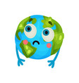 cute cartoon funny earth planet emoji humanized vector image