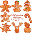 Watercolor Christmas gingerbread cookies vector image