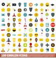 100 emblem icons set flat style vector image