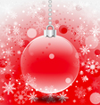 Christmas ball and snowflakes with red background vector image