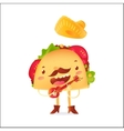 Happy taco character in sombrero singing and vector image vector image