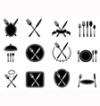eating utensils icons set vector image vector image
