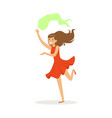 beautiful woman in red dress dancing traditional vector image
