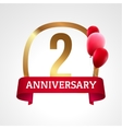 Celebrating 2 years anniversary golden label with vector image