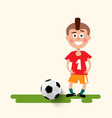 boy with football ball flat design soccer sport vector image