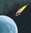 Burning comet flying in space to planet earth vector image