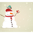 Snow Man with Singing Birds Background vector image