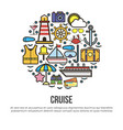 circle with nautical cruise elements set on white vector image