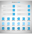 set of search bars boxes with blue button vector image