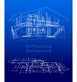 Stylized house model with floor plan vector image vector image