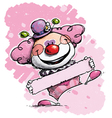 Clown Holding a Label Girl Colors vector image