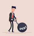 businessman or manager chained to a weight with an vector image